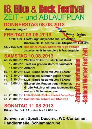 Ablaufplan 18. Bike und Rock Festival 2013